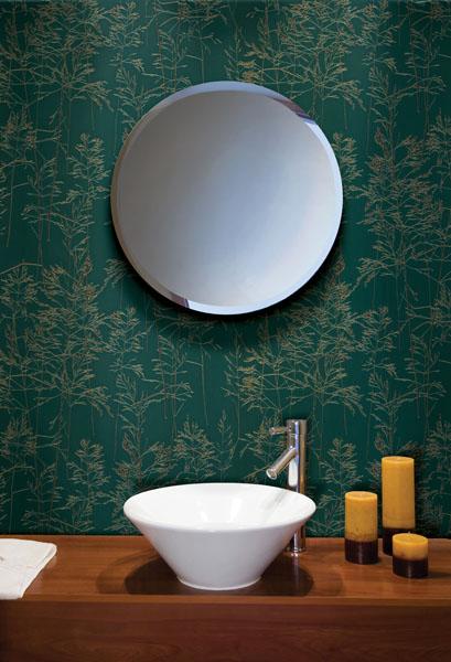 emeral green bathroom wallpaper