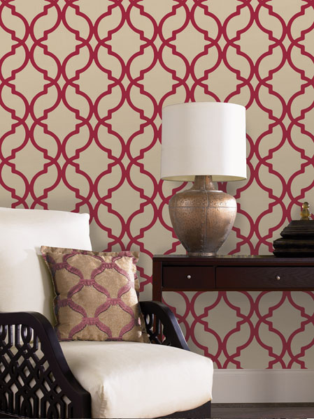 Red wallpaper by Decadence available from Brewster Home Fashions