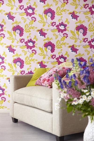 A lush modern meets vintage floral wallpaper design