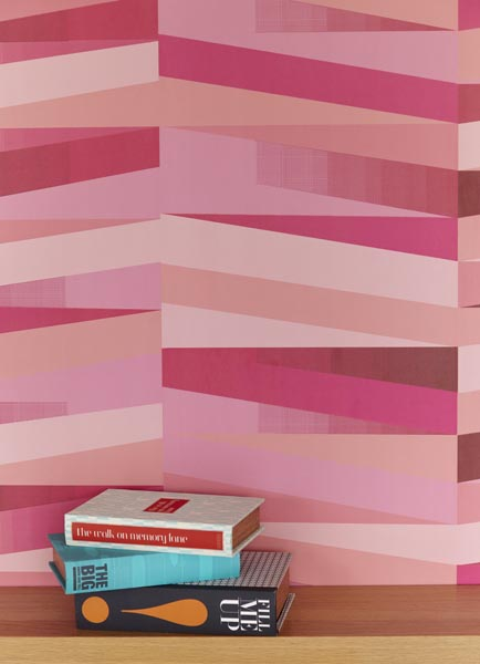 A contemporary wall decor idea with a pink geometric design