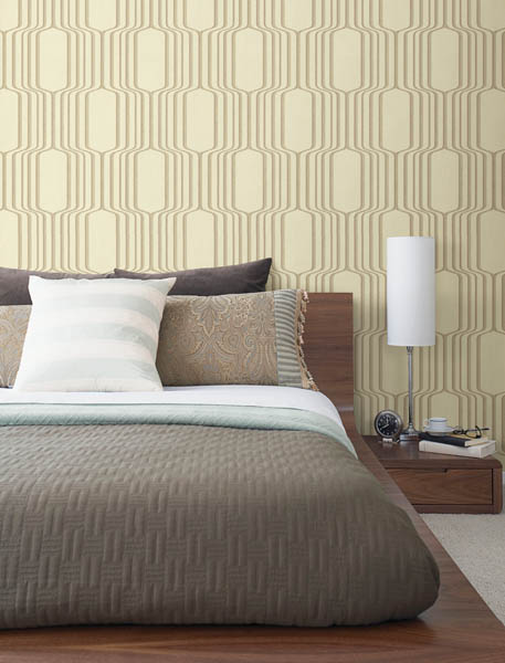 A contemporary square ogee wallpaper in gold & cream