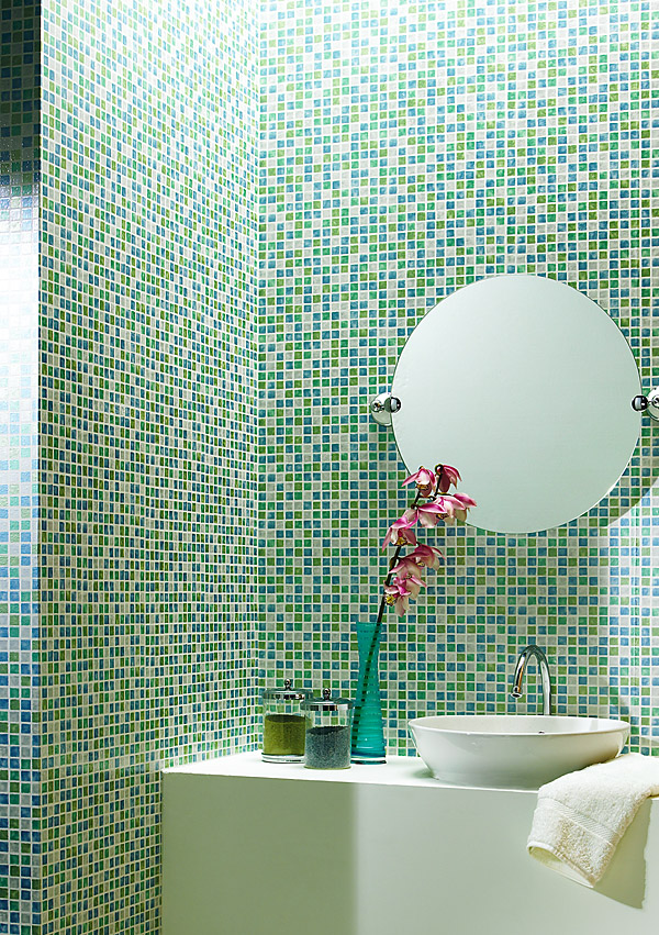 Aqua Faux Tile Bathroom Wallpaper Brewster Home