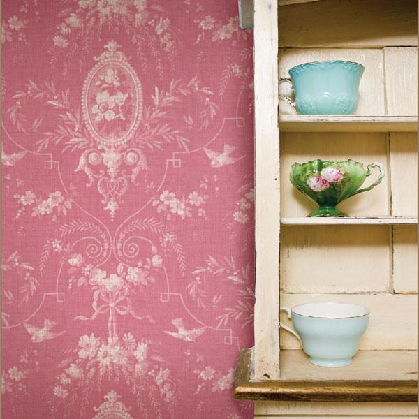 302-66819 Pink Cameo Fleur Vintage Wallpaper
