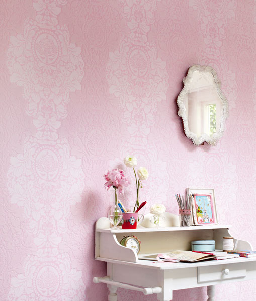 Pink Damask Vintage Wallpaper