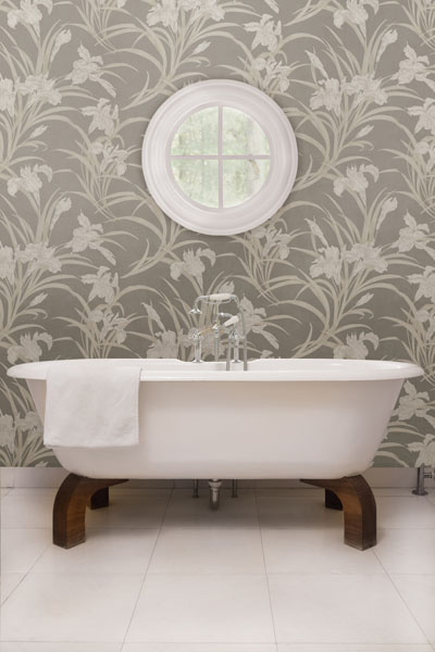 Posh grey and peach lily floral bathroom wallpaper for Floral bathroom wallpaper