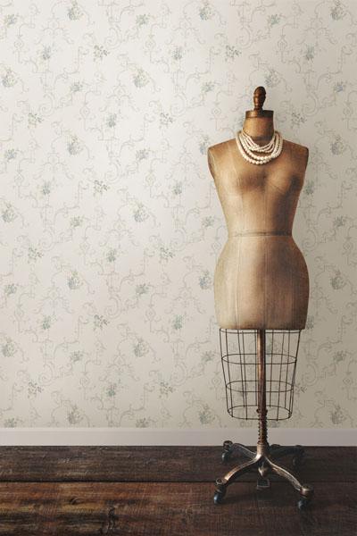 Light Blue Vintage Wallpaper with a dress bust manequin