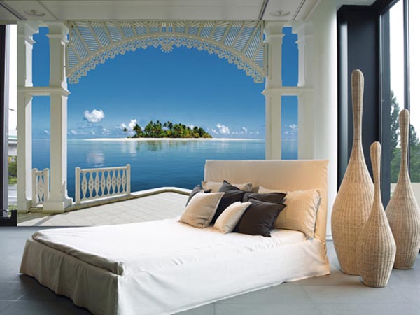Beachy scene wall murals of paradise brewster home for Miroir long mural