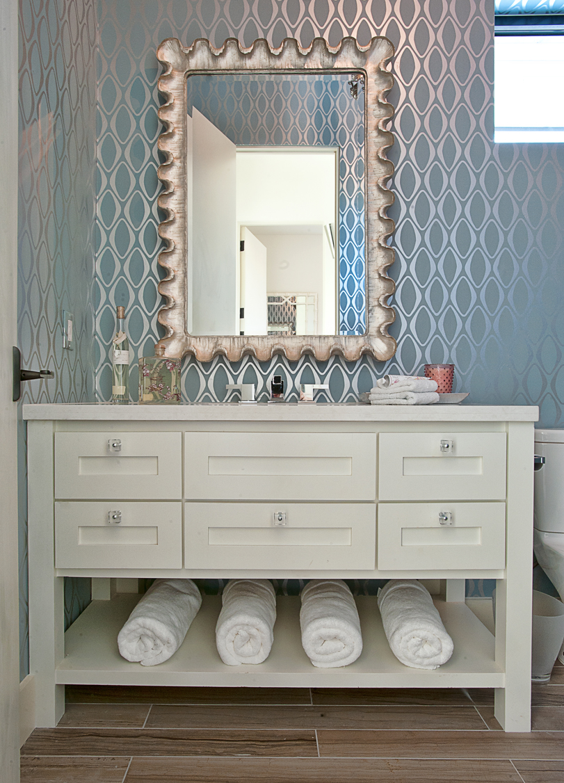 echo blue wallpaper in a bathroom courtesy of cat mountain design - Wallpaper For Bathroom