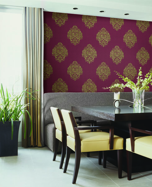 Red Damask Wallpaper from Kenneth James Naturale