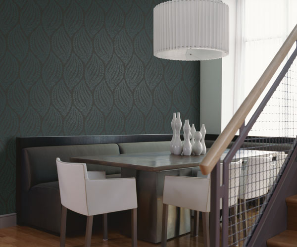 Charcoal and Teal Leaf Wallpaper from Kenneth James Naturale