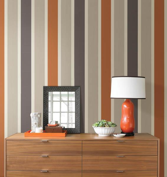 Contemporary Orange Stripe Wallpaper from Brewster Home Fashions