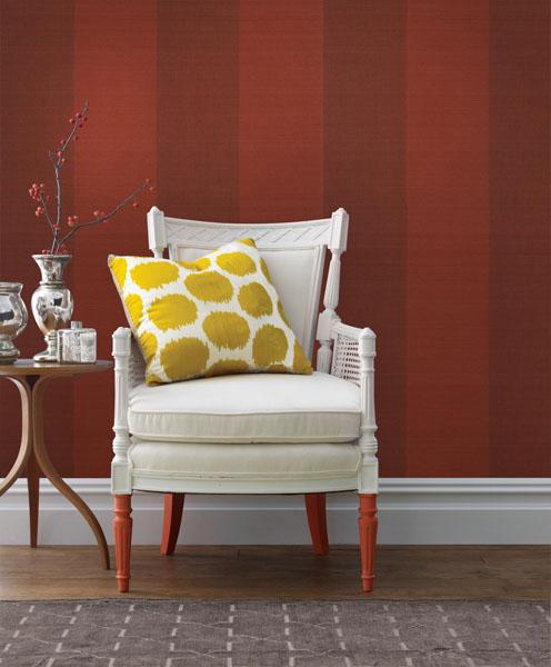Shangri La Grasscloth Wallpaper Red Stripe