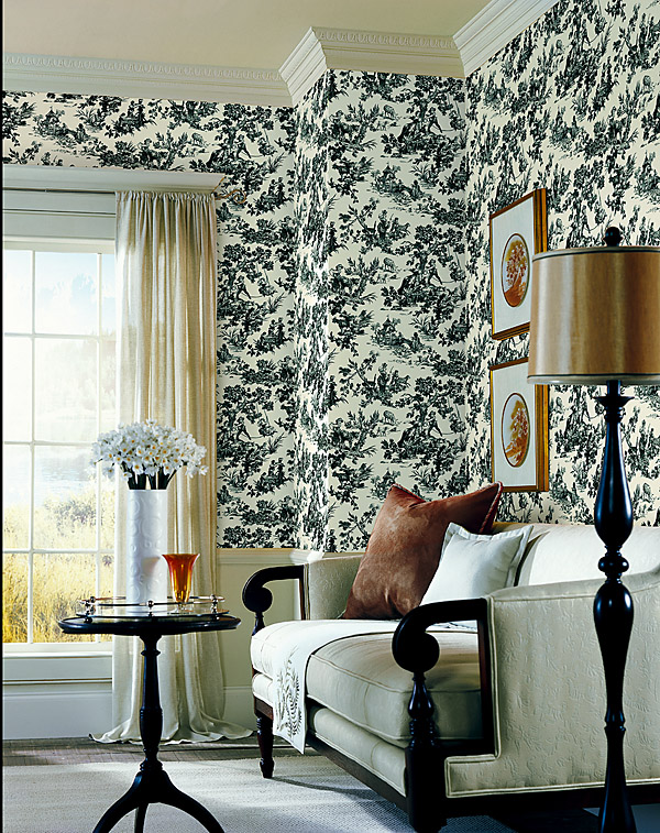 283-36918 Toile wallpaper guest room decor idea