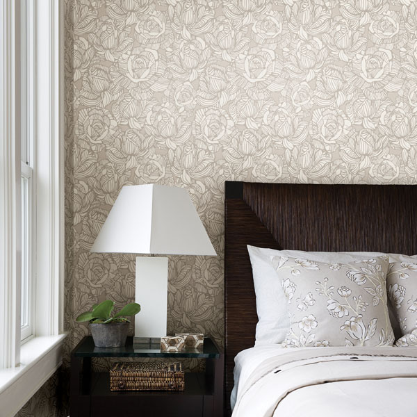 Beige Modern Floral Wallpaper