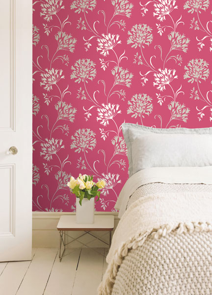 Pink Modern Floral Wallpaper
