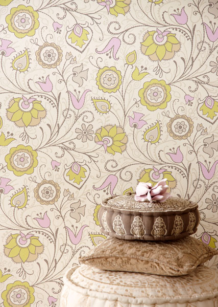 Pretty and Playful Jacobean Print Global Chic Designer Wallpaper by Eijffinger