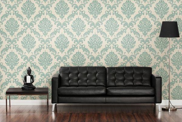 Global Chic Room Decor IDe with a Designer Damask Wallpaper