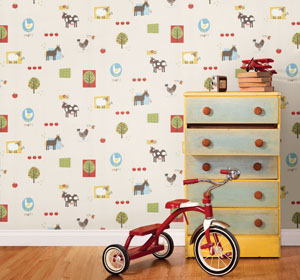 ... Farm Animal Wallpaper Boys Room Decor Idea Kids Wallpaper