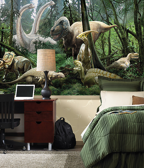 Wallpaper for kids rooms and nursery decor ideas for Dinosaur themed kids room