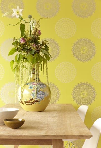 Jacintha Modern Wallpaper designer wallpaper in a vivid chartreuse hue