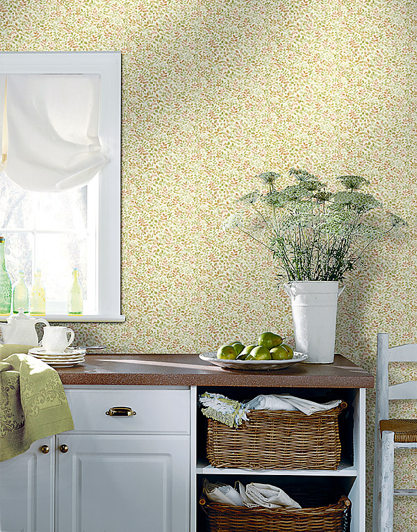 Sunny Country Chic Kitchen Decor Idea Petals Wallpaper Fresh flowers baskets as storage