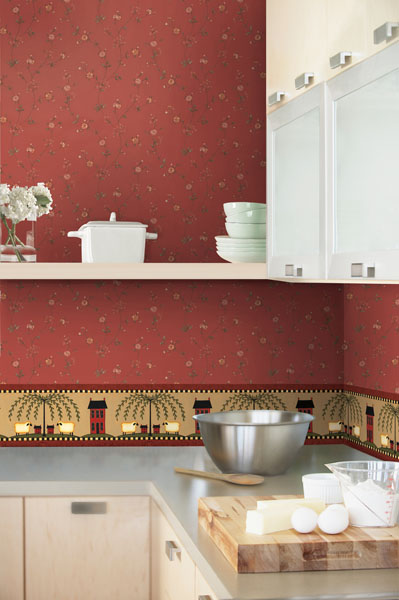 Floral Kitchen Wallpaper country chic decor