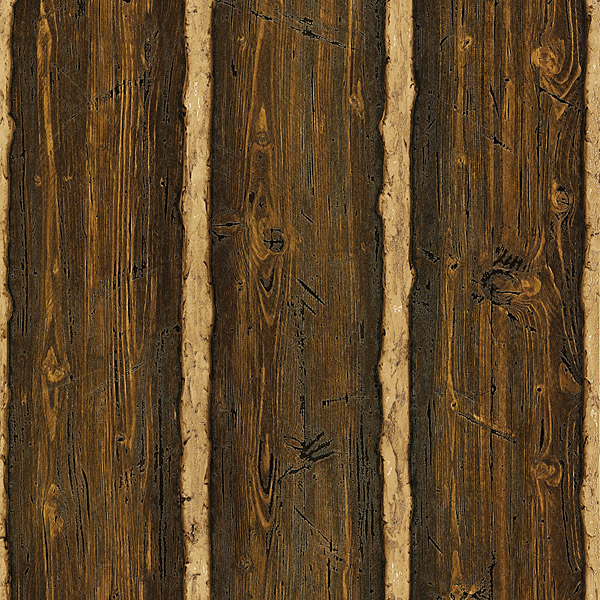 Lincoln Brown Log Cabin Wood Faux Wood Wallpaper
