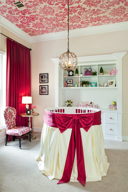 Pink Damask wallpaper ceiling nursery ceiling decor idea with wallpaper