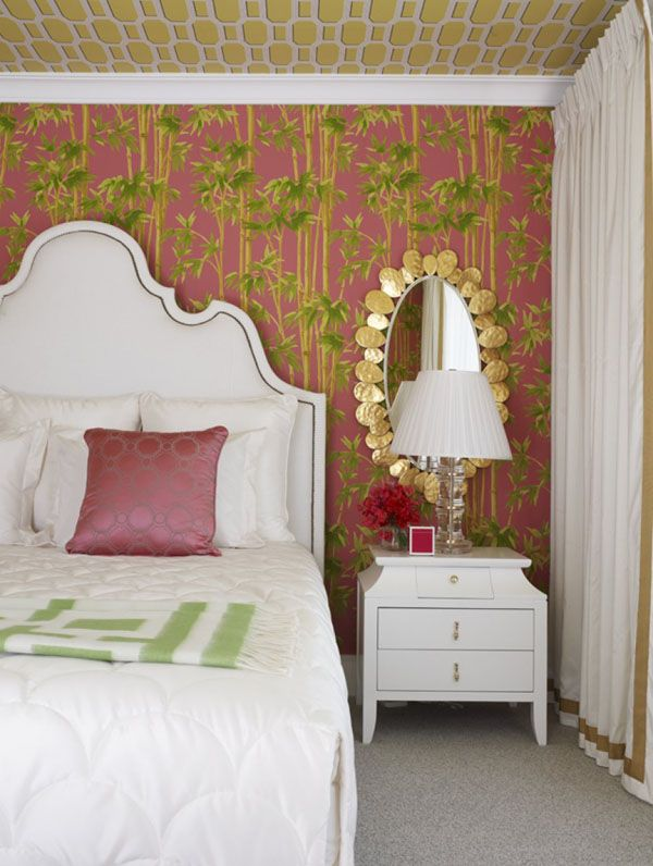 Geometric wallpaper ceiling bedroom decor idea