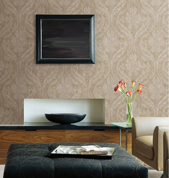 672-20030 Ogee Damask Wallpaper designer wallpaper from the Onyx Collection by Kenneth James