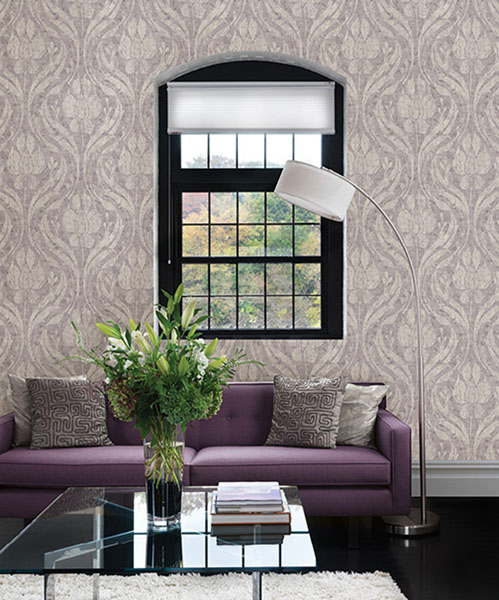 672-20033 Ogee Damask Wallpaper designer wallpaper from the Onyx Collection by Kenneth James