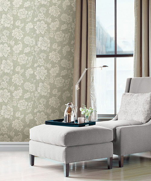 672-20050 Pearl Green Jacobean Flower Wallpaper Designer Wallpaper from Onxy by Kenneth James