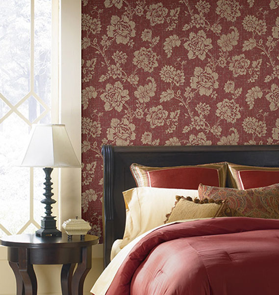 672-20051 Red Jacobean Flower Wallpaper Designer Wallpaper from Onxy by Kenneth James