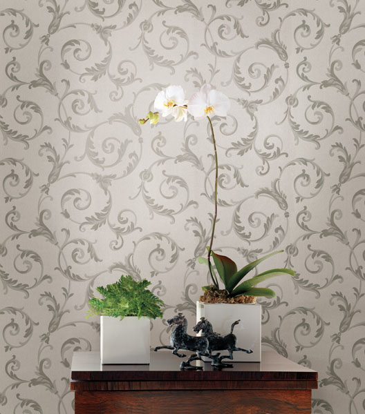 Pewter Grey Swirling Scroll Wallpaper and a beautiful orchid decor idea
