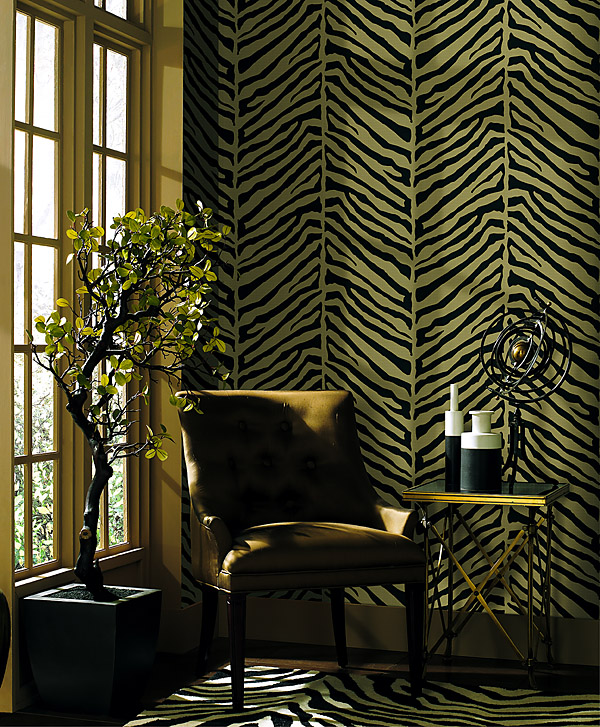 Zebra print wallpaper and a beautiful potted tree plants in decor