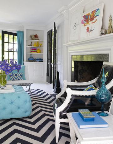 Chevron Rug Jonathan Adler design via House Beautiful