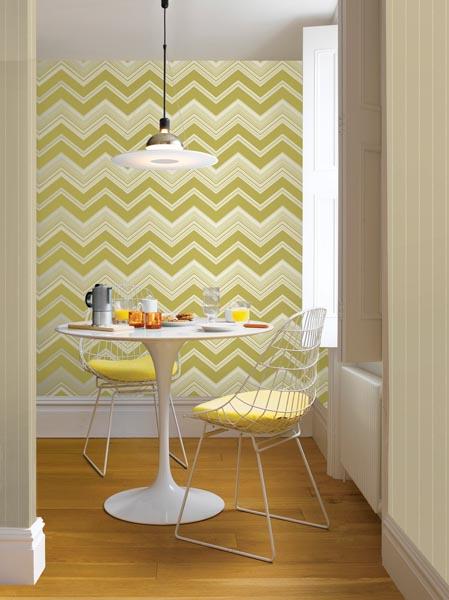 Chevron Stripe Wallpaper in a Mod kitchen with a white tulip table