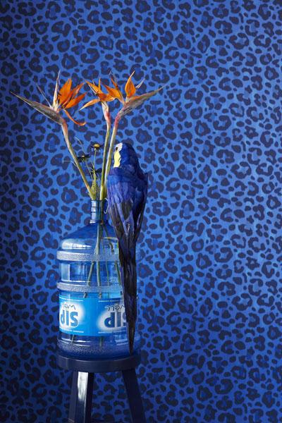 Cobalt Blue Abstract leopard Print Wallpaper