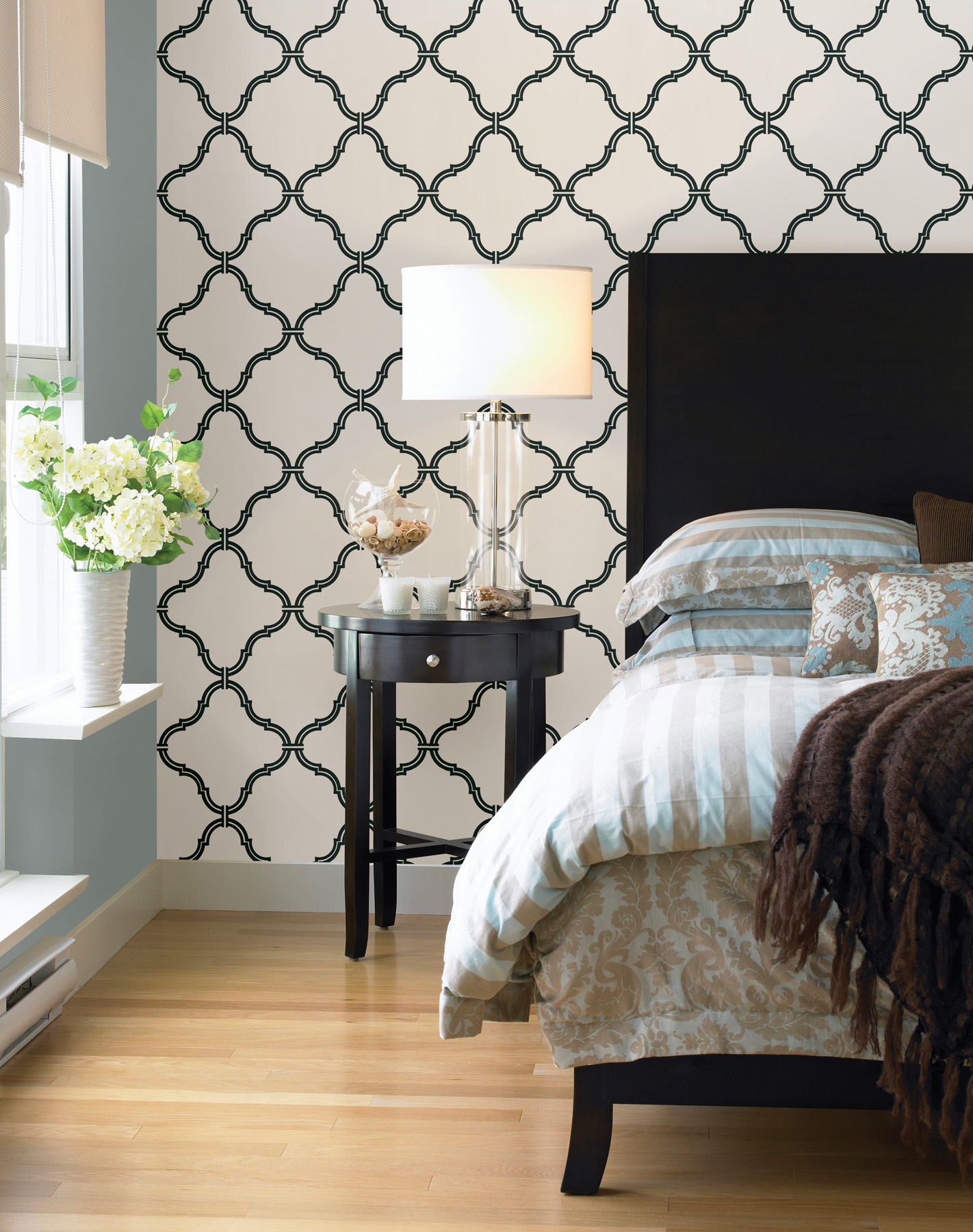 wallpaper for bedroom walls bedroom makeover re style your bed brewster home 17769