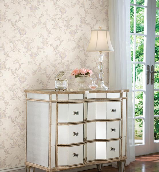 Lulu Lavender Jacobean Trail from the Satin Classics IX Wallpaper Collection