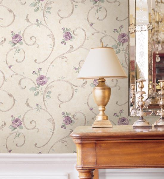 Lotus Lavender Floral Scroll Wallpaper from Satin Classics IX