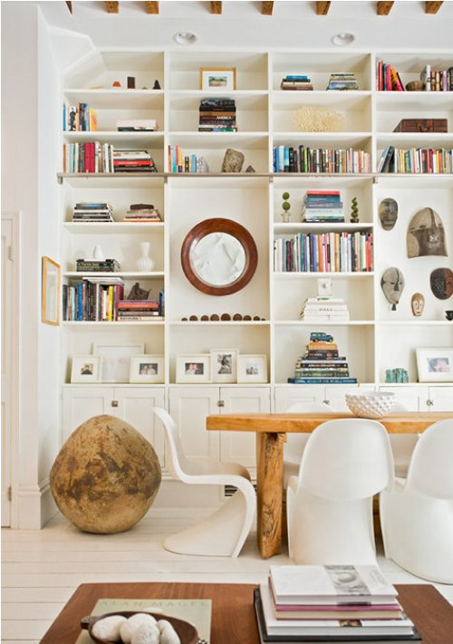 Well Organized built-in shelves give this room panache!