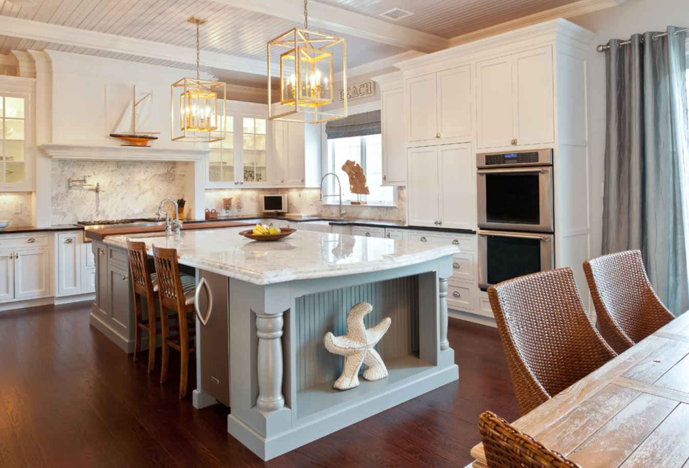 pics of wood kitchen cabinets in beach home