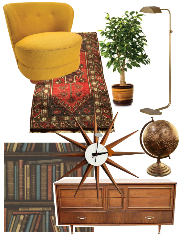 Mad Men Inspired Den Retro Mod Man Cave with Vintage Picks from Chairish