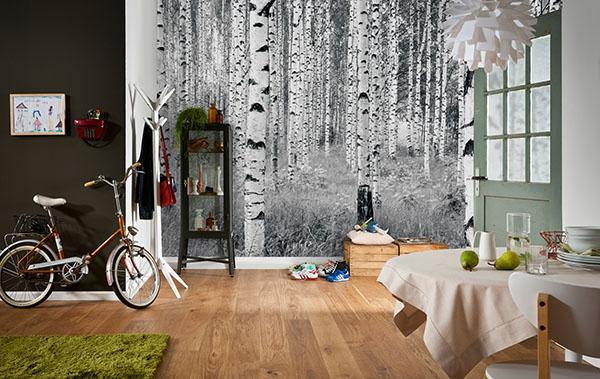 birch forest mural