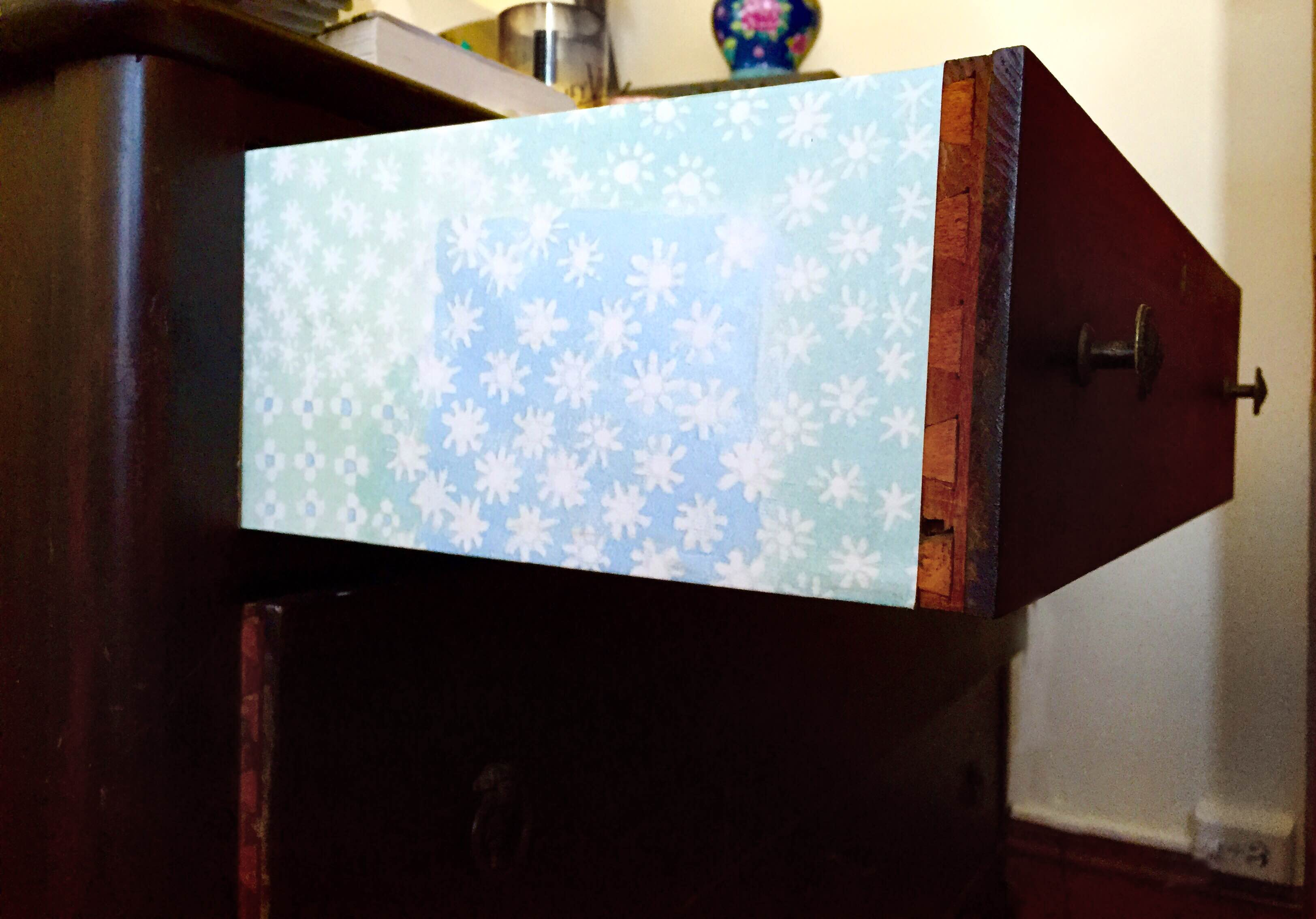 wallpaper covered drawer