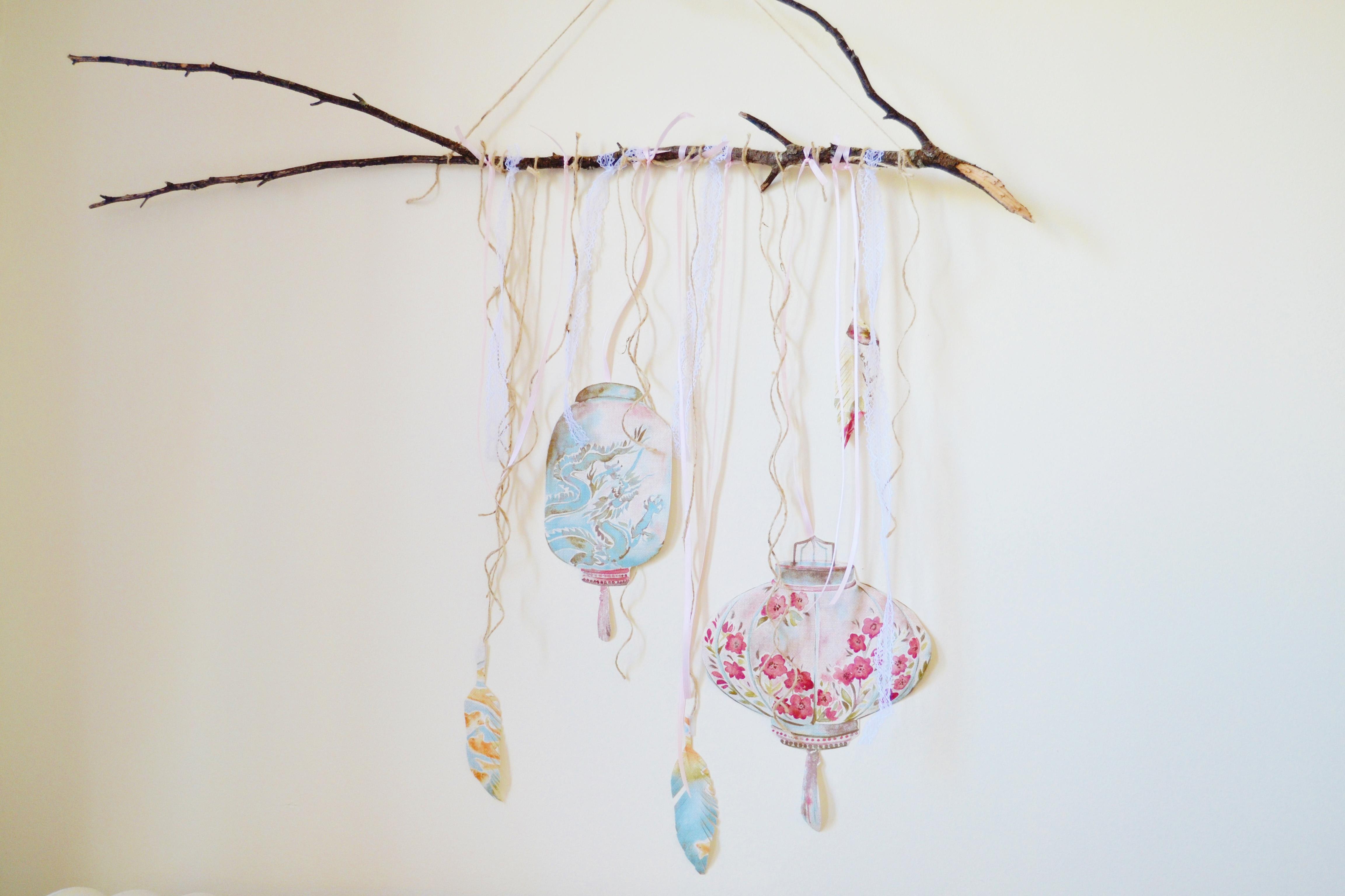 DIY ribbon branch wall hanging