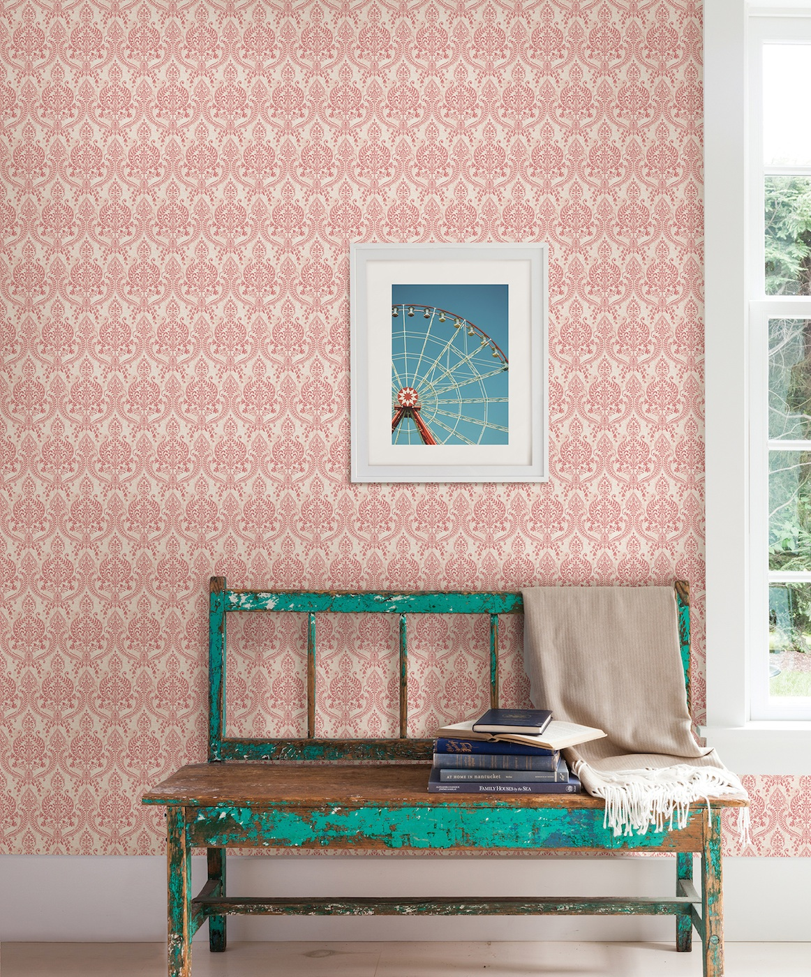 red damask wallpaper