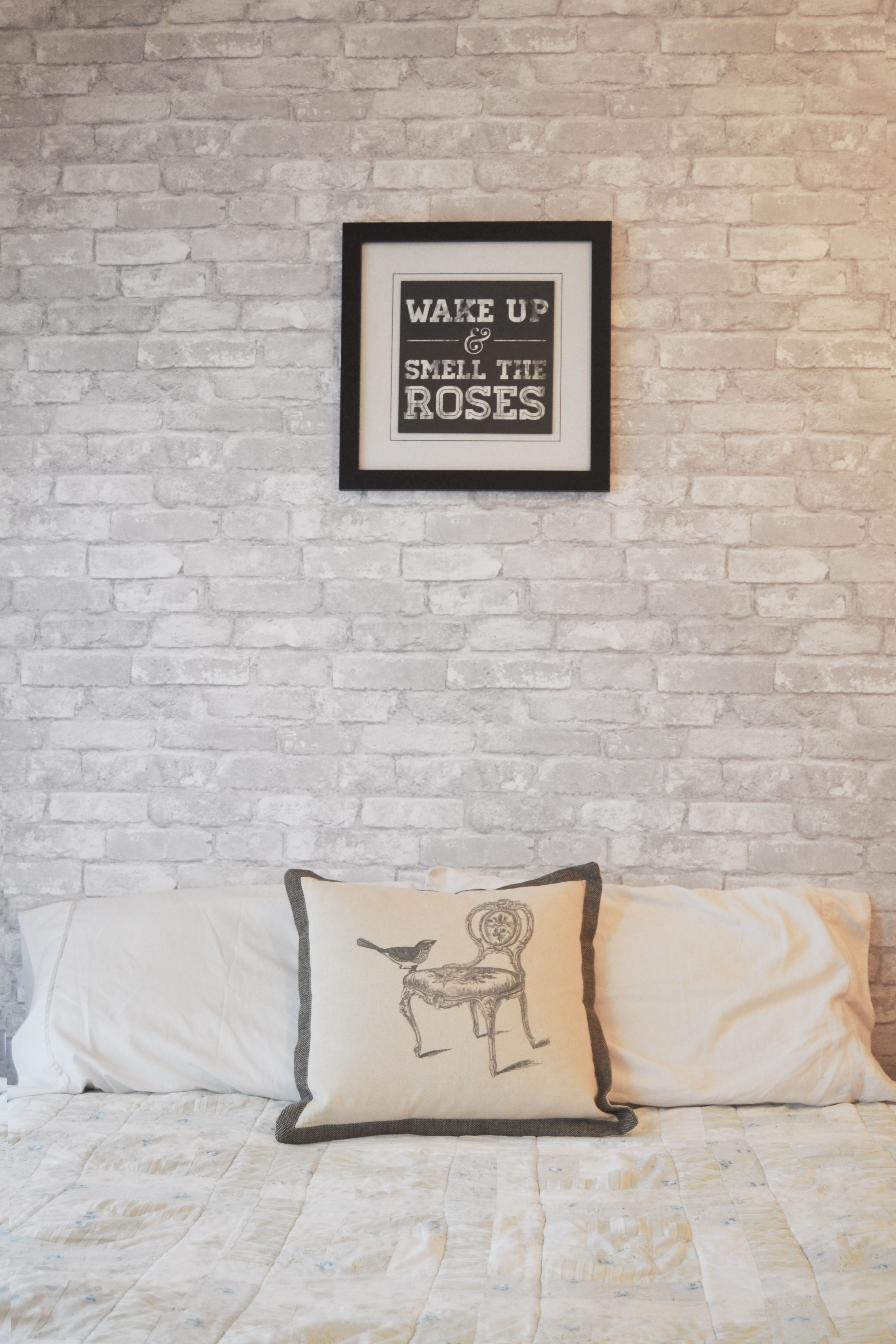 white brick feature wall