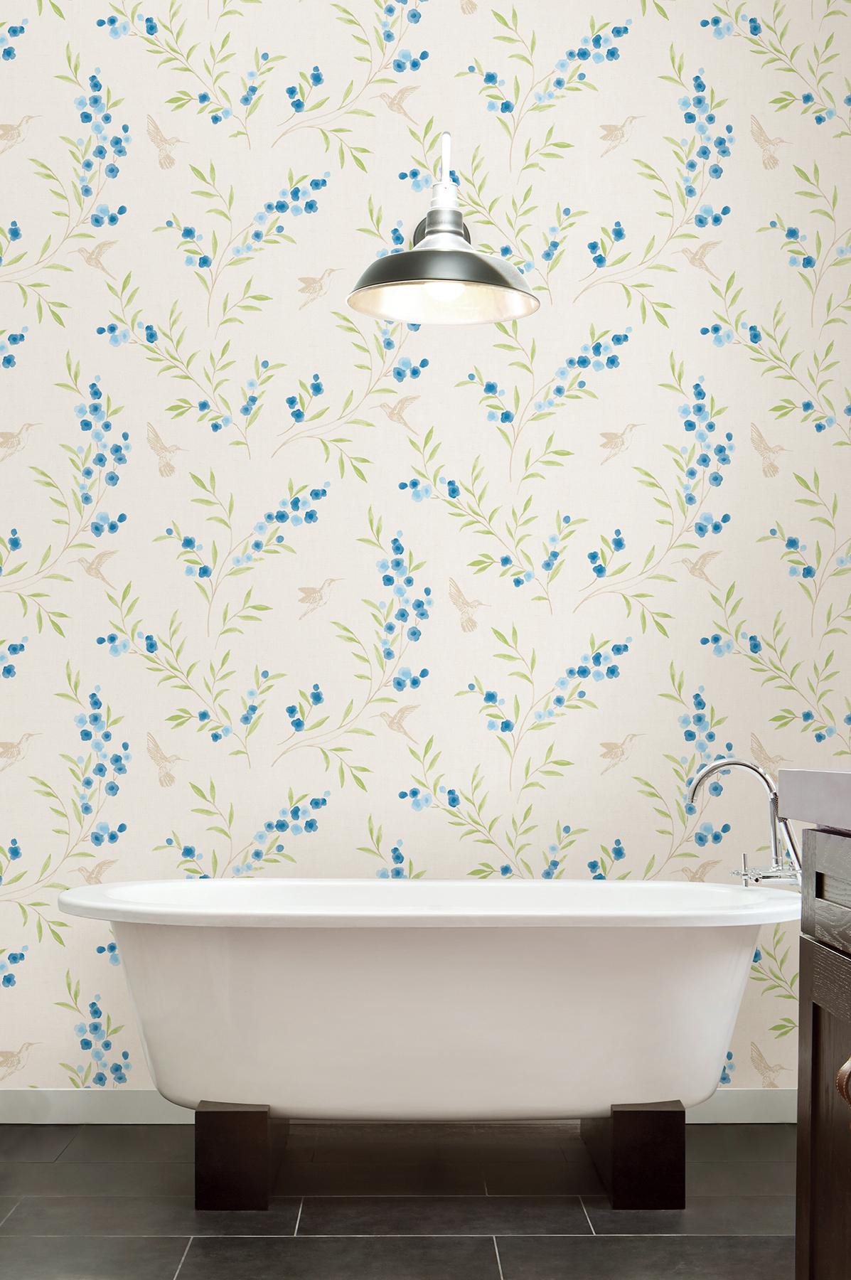 blue floral bathroom wallpaper